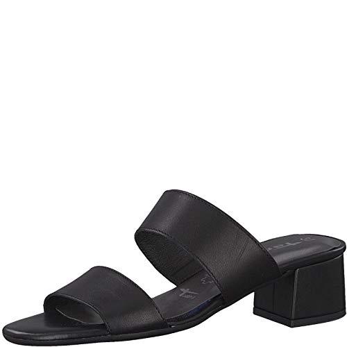 Tamaris 1-1-27218-22 Damen Sandaletten,Sommerschuh,Riemen,elegant,feminin,Leichter Absatz,Touch-IT,Black Leather,37 EU