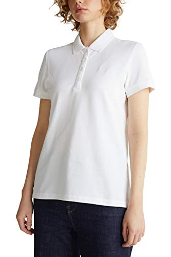 ESPRIT Damen 030EE1K324 T-Shirt, 100/WHITE, L