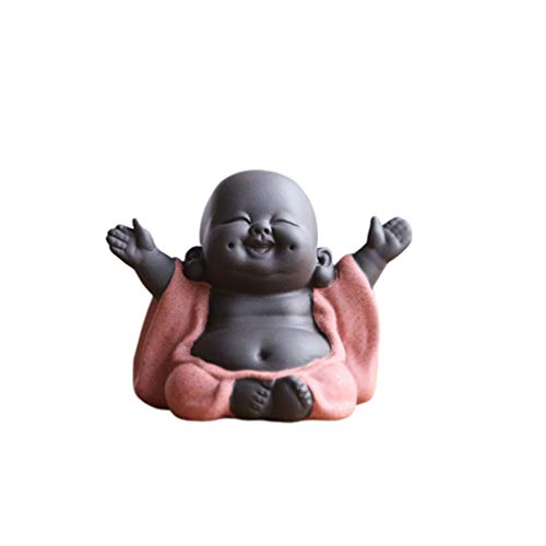 Heally Statua di Buddha che ride Maitreya Laughing Maitreya Buddha Ornamento Tea Scultura Little Monk Decor Tea Set accessori (stile Happy Smile, arancione)