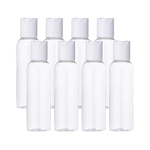 BENECREAT 20 Pack 60ml Botellas Transparente con Tapa Blanca de Presión para Jabón de Manos Limpiador Facial Contenedores Vacíos de Plástico, Botellas Recargables y Portátil