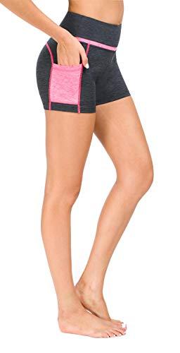 Flatik Damen Netzoberfläche Sport Gym Yoga Laufen Fitness Leggings Hose, Grau Pink(kurze Hose), M