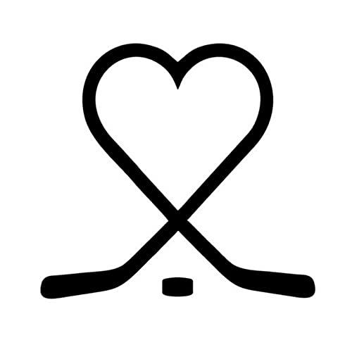 KDEQT Auto-Aufkleber 13 * 14Cm Liebe Eishockey Kreative Aufkleber Abziehbilder Auto Styling Mode Körperdekoration Zubehör Splitter/Schwarz