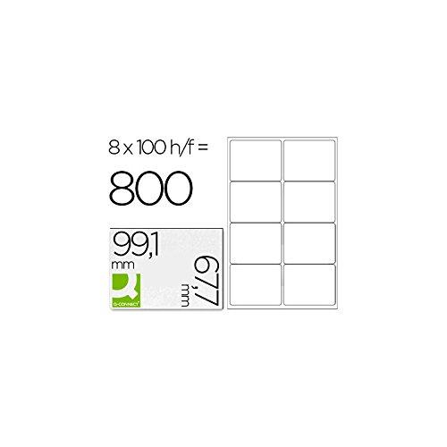 Q-Connect - Lot de 800 Etiquettes Adhésives Coins Arrondis Imprimante Jet Encre Laser Copieur Boîte 100 Feuilles 99,1 x 67,7 mm Assorties 925688