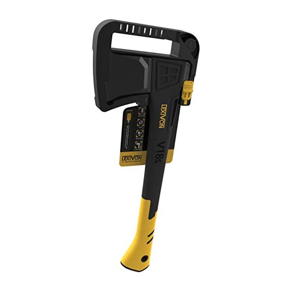 LEXIVON V18s Splitting Axe, 18-Inch Lightweight Fiber-glass Composite Handle & Ergonomic TPR Grip | Protective Carrying… 7 INNOVATIVE DESIGN - Fully encased over-molded blade. Hi-Tech fiberglass composite injected handle, featuring reinforced back spine & non-slip TPR grip. DURABLE - Drop-forged & heat-treated Grade A High-Carbon steel, meticulously hardened cutting edges provides a deeper and cleaner contact. SPLITTING - Wedge-shaped blade profile gives efficient one-strike splits. Perfect for splitting small to medium-sized fireplace logs & kindling.