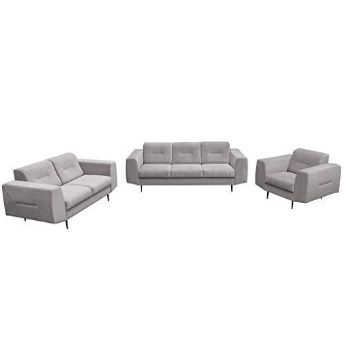 MOEBLO Polstergarnitur Sofa 3 Sitzer 2 Sitzer und Sessel Sofa Couch Garnitur Stoff Samt (Velour) Glamour Wohnlandschaft - Treviso (Hellgrau)