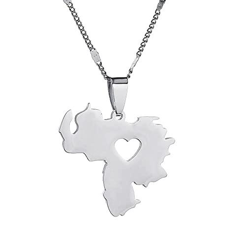 Kkoqmw Collar con Colgante de Mapa de Venezuela de Acero Inoxidable