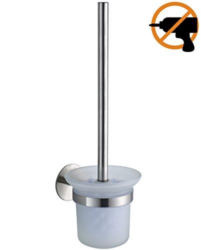 Wangel WC-Bürste und Halter WC-Bürstengarnitur ohne Bohren, Patentierter Kleber + Selbstklebender Kleber, Edelstahl und Glas, Gebürstetes Finish