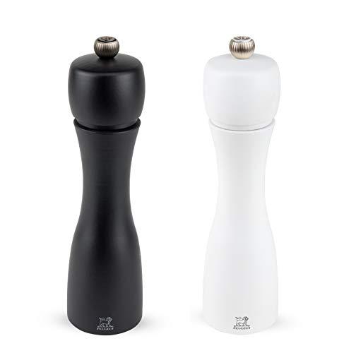 Peugeot Tahiti Duo de moulins à poivre et à sel manuels, Réglage classique, Taille : 20 cm, Bois, Noir/Blanc, 2/24277