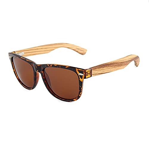 QFSLR Gafas de sol, Clásico Redondo Polarizado Gafas de sol para Hombres y Mujeres, Gafas de sol de madera, Protección Uv400,A