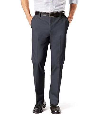 Dockers Men's Straight Fit Signature Lux Cotton Stretch Khaki Pant, Steelhead - creased, 36W x 32L