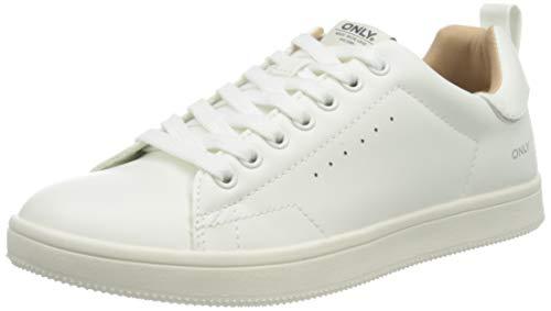 ONLY Damen ONLSHILO PU NOOS Sneaker, White, 39 EU