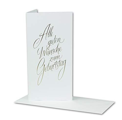 Geburtstagskarten Set 20 Stück mit Umschlag Weiß DIN LANG - Motiv goldene Schrift - Goldene Premium Folienprägung - Glückwunschkarte Geburtstagskarte Klappkarte