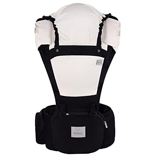 Bebamour Portabebés para 0-36 meses, Mochila portabebés para recién nacidos a niños pequeños, Asiento ergonómico para la cadera del bebé 6 en 1 Portabebés frontal (Black)