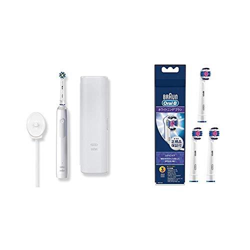 【セット買い】ブラウン オーラルB 電動歯ブラシ PRO2 ホワイトアラバスター + 替えブラシ ホワイトニングブラシ(3本入)