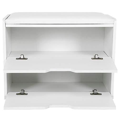 Ausla Zapatero banco de entrada, baúl con asiento acolchado, carga superior 70 kg, 29,5 x 60 x 44 cm