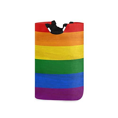 N\A Cesto de Ropa, Rainbow LGBT Pride Cestas de Almacenamiento de Ropa Ropa Plegable Bolsa de Organizador de Juguetes para dormitorios Cuarto de Lavado Cuarto de baño