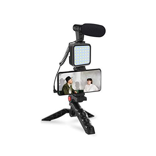 Mini Selfie Light con trípode con control remoto inalámbrico con micrófono Lámpara de escritorio regulable para maquillaje/video de Youtube, soporte para teléfono para iPhone/Android