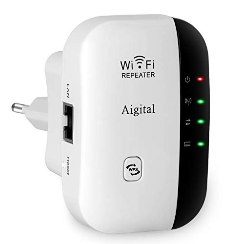 Aigital WLAN Repeater 300Mbps WiFi Extender und Wireless Access Point Multifunktion WLAN-Signal Verstärker 2.4GHz mit WPS Funktion, kompatibel mit Modem Faser Router, 1 Fast-Port IEEE802.11n/g/b
