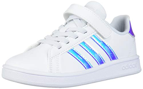 adidas Grand Court Tennis Shoe, White/White/Dash Grey (Hook and Loop), 13 US Unisex Little Kid