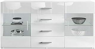 Aparador Cómoda Bari Cuerpo en Blanco MateFrente en Blanco de Alto Brillo