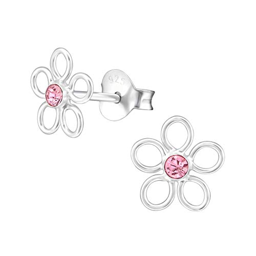 Flower Earrings with sparkly crystal (various options): 925 Sterling Silver earrings for girls - Sterling Silver studs – silver ear stud earrings - gift box (Light Rose)