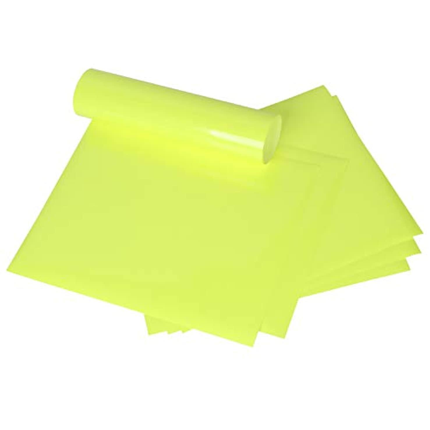 MAYPLUSS Heat Transfer Vinyl Sheets - Easy to Weed Iron on HTV for T-Shirts, Craft Garment Heat Press - 10 x 12 Inches, 6 Sheets - Fluorescent Yellow