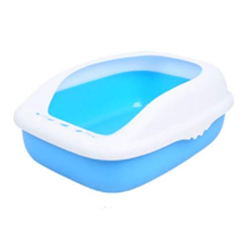 Yfdmbk Gato Heces Cuenco Gato Basura Caja Semicerrada Inodoro Pequeño Bentonita Desodorante (Color : Blue)