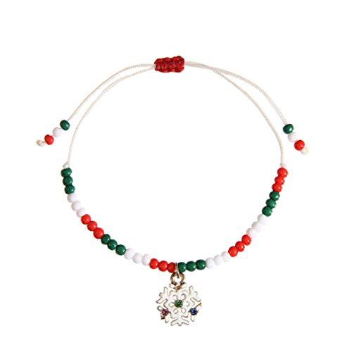 Amosfun Kerst Armband Sneeuwvlok Legering Beaded Armband Kerst Feest Kostuum Accessoire Kerstmis Gift voor Vrouwen