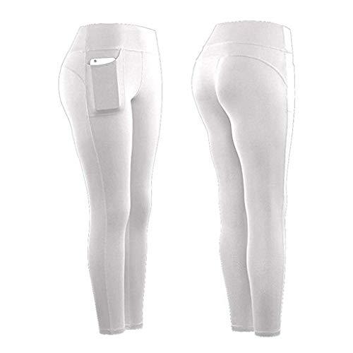 Lazzboy Sport Damen Leggings, Lange Blickdicht Yoga Hose Sporthose Fitnesshose Mit Taschen Frauen Stretch Fitness Running Gym Sporttaschen Aktive Hosen(Weiß,XL)
