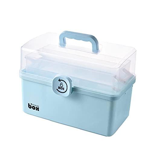 Hainice Primera Caja de almacenaje de la Ayuda de múltiples Funciones Portable del Pecho del gabinete del hogar con Plegable 3 Capas de Gran Caja Azul