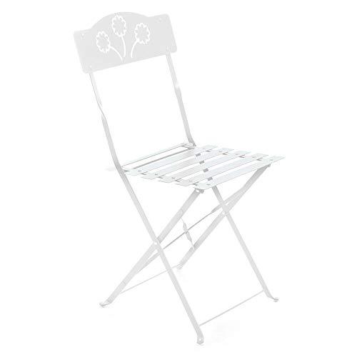 2 Sedie da esterno sedia in ferro pieghevole bianca giardino terrazzo 06177
