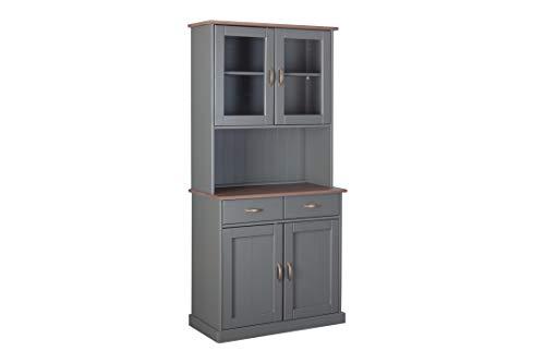 Inter Link FSC Landhausstil Buffet Vitrine mit 4 Türen 2 Schubladen Massivholz grau Sepia braun Esszimmer Küche, 90 x 45 x 191 cm