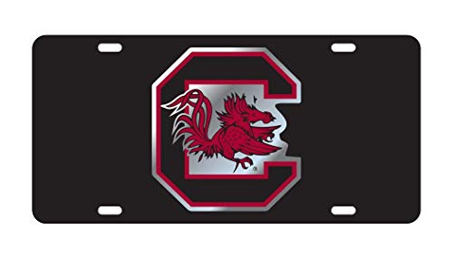Fhdang Decor SOUTH CAROLINA Gamecocks Black License Plate Tag Aluminum License Plate, Front License Plate, Vanity Tag 4 Holes Auto Tag Car Accessories 6' X 12'