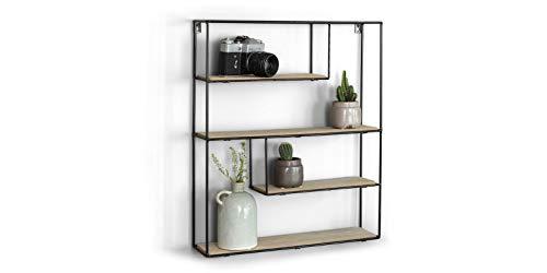 LIFA LIVING Wandregal aus Holz & schwarzem Metall mit 4 Böden, Vintage Metallregal im Naturstil mit 4 Etagen, Wanddeko Küchenregal Gewürzregal (55 x 45 x 11 cm)