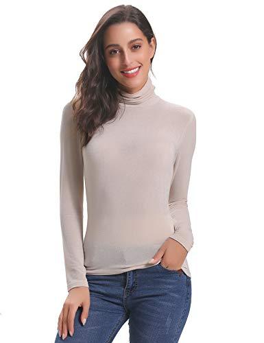 Abollria Damen Dünn Rollkragenpullover Basic Shirt Langarm Leicht Stretch Rolli als Unterhemd