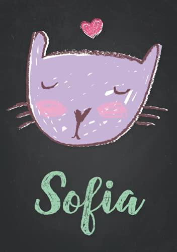 Sofia: Carnet de notes A5   Prénom personnalisé Sofia   Cadeau d'anniversaire pour fille, femme, maman, copine, sœur   Dessin de chat mignon   120 pages lignée, Petit Format A5 (14.8 x 21 cm)