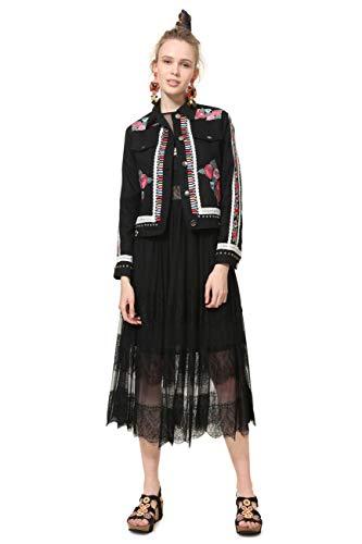 Desigual Jacket ARENTO Woman Black Chaqueta, Negro (Negro 2000), 40 (Talla del Fabricante: 40) para Mujer