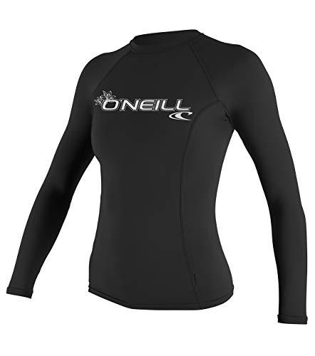 O'Neill UV Sun Protection Womens Basic Skins Long Sleeve Crew Sun Shirt Rash Guard, Black, Medium