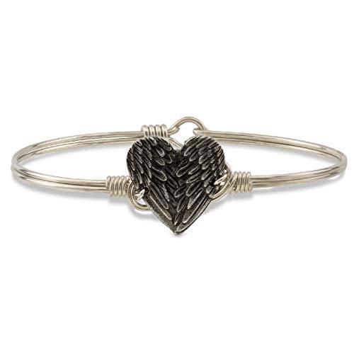 Luca + Danni   Angel Wing Heart Bangle Bracelet For Women - Silver Tone Size Regular Made in USA