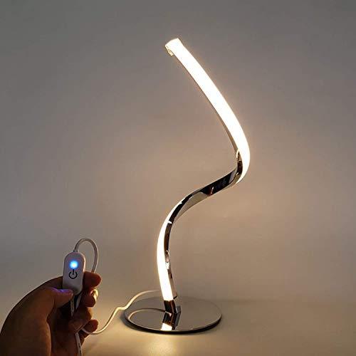 FEE-ZC Lámpara de Escritorio led en Espiral, Curvada y Moderna, protección para los Ojos, iluminación Regulable Regulable con atenuador para Oficina en casa, lámpara de Mesa, de