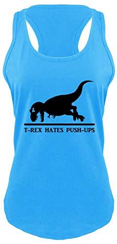 Ladies Racerback Tank T Rex Hates Pushups Funny Dinosaur Workout Shirt Turquoise S