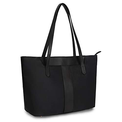 Yaluxe Work Tote Bag for Women Leather Nylon Large Capacity Laptop Teacher Bag Purse Work