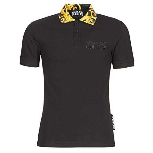 Versace Jeans Couture Polo M/C Piquet Cotton Plain Baroque, Schwarz 50