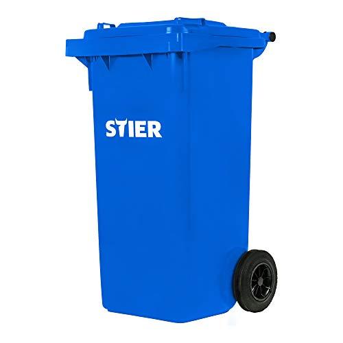 STIER 2-Rad-Müllgroßbehälter, Volumen 120 l, Mülleimer, blau, BxTxH 475x550x930 mm, Mülltonne, Hergestellt in Deutschland, Restmülltonne mit Rädern und Deckel