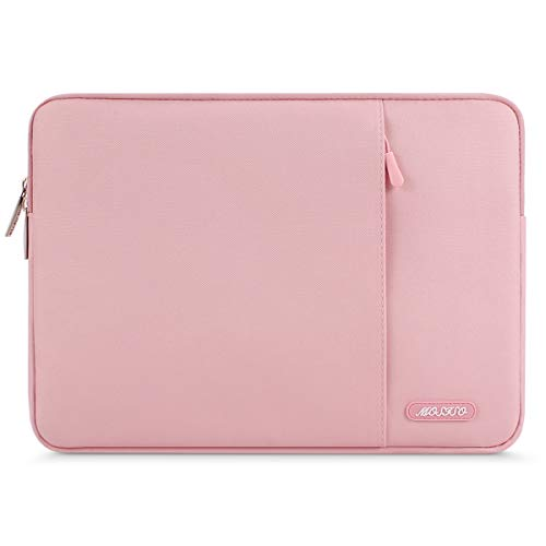 MOSISO Laptop Sleeve Bag Compatible with 13-13.3 inch MacBook Pro, MacBook Air, Notebook Computer, Water Repellent Polyester Vertical Protective Case with Pocket, Pink