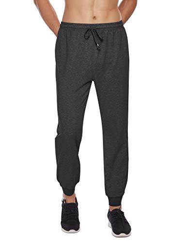 COOFANDY Pantalones de chándal para hombre, pantalones de deporte, pantalones largos, pantalones de ocio, básicos, pantalones de chándal con bolsillos con cremallera gris claro L