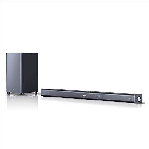 Sharp HT-SBW800, 5.1.2 Dolby Atmos Soundbar con subwoofer wireless, Bluetooth, esperienza 4K, HDMI ARC/CEC e 570 W di potenza totale, Nero