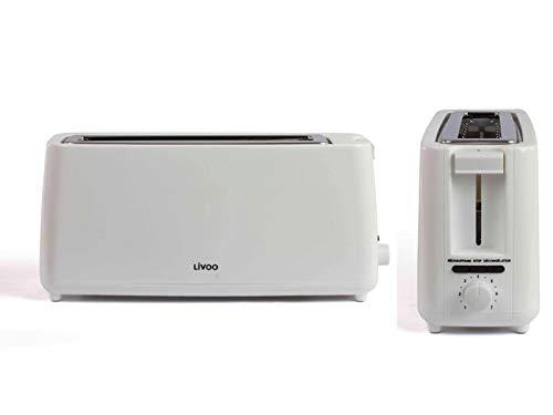 Toaster-Langschlitz-Weiss-Langschlitztoaster-Regelbarer-Thermostat-Breiter-Schlitz-800-Watt-Bagel-Kruemelschublade