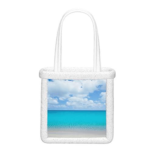 Bolsos de hombro para mujer Playa Tropical con arena blanca y agua turquesa Bolso de mano Mochila Mullida felpa Bolsos de hombro suaves Mujeres reutilizables para viajes de trabajo y compras