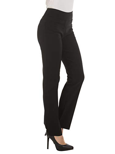 Red Hanger Bootcut Dress Pants for Women -Stretch Comfy Work Pull on Womens Pant Black-L